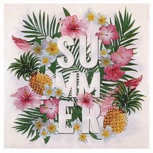 Chemin De Table Tropical : achat 20 serviettes en papier d cor des iles d coration de table ~ Melissatoandfro.com Idées de Décoration