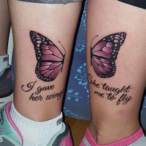 enamoring butterfly mother daughter tattoo design mother