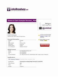 Personal Interests Examples General Clerk Sample Resume