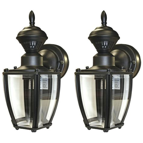 Porch Light Motion Sensor by Secure Home 2 Pack 11 In Black Motion Activated Outdoor