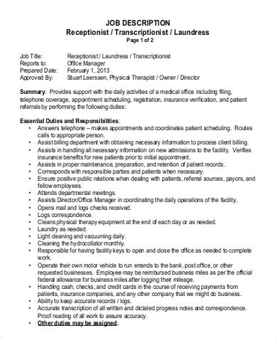 Physical Therapy Resume Sle by Physical Therapist Description 28 Images 9 Physical