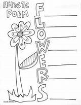 Acrostic Poetry Poem Poems Coloring Classroom End Printable Printables Flower Classroomdoodles Doodles Templates Flowers Template Kindergarten Cleanliness sketch template