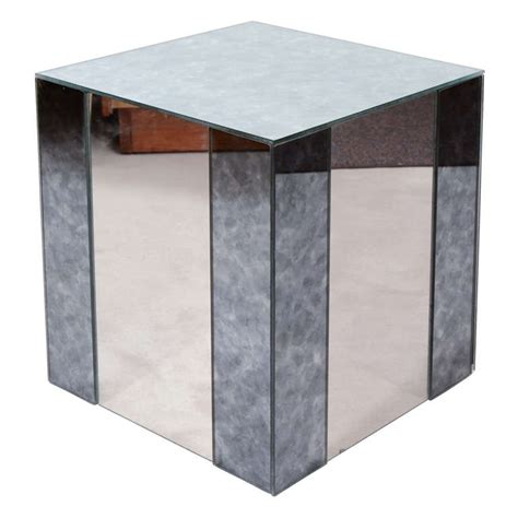 mirrored cube end table vintage art deco style mirrored cube side table at 1stdibs