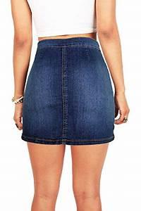 Wax Womenu0026#39;s Juniors Cute Button Down Denim Mini Skirt (M Dark Denim) Apparel Accessories ...