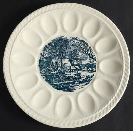 click  enlarge deviled egg plate currier  ives plates