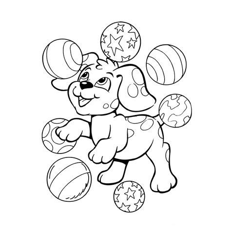 Kleurplaten Puppies by Leuk Voor Deze Puppy Speelt Met De Ballen