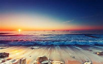 Beach Desktop Sandy Landscape Sunrise Waves Sea