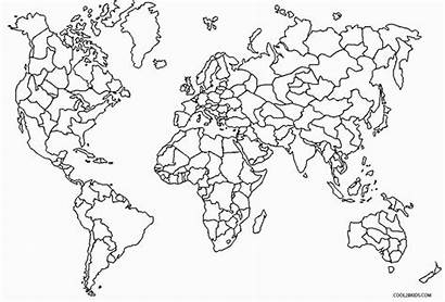 Coloring Map Pages Countries Labeled Printable Children