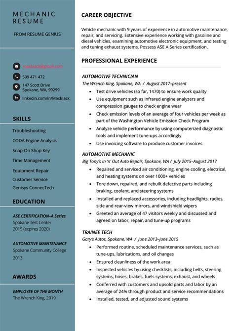 mechanic resume  writing tips resume genius