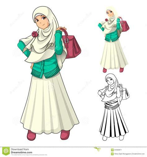 muslim girl fashion wearing veil  scarf  holding
