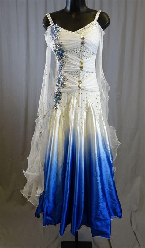 elegant white blue long sleeves ballroom dress