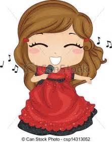 Little Girl Singing Clip Art
