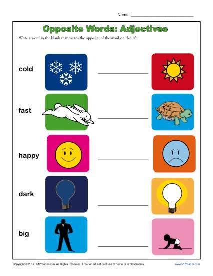 kindergarten antonym worksheet opposite words adjectives 479   opposite words adjectives