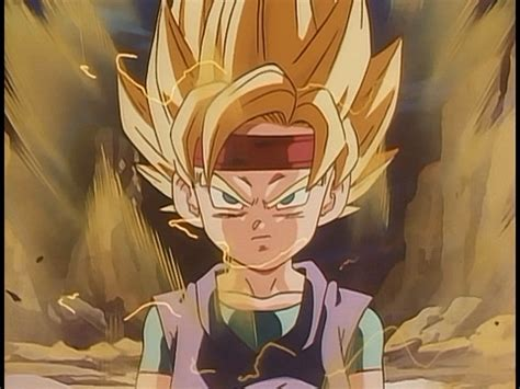 dragon ball goku jr se transforma em super sayajin pela