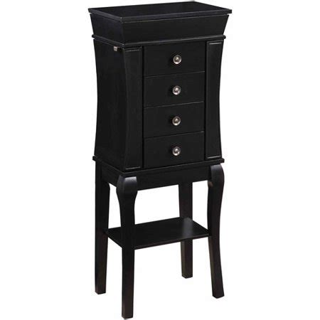 Black Jewelry Armoire Walmart by Linon Tara Four Drawer Jewelry Armoire With Mirror Black