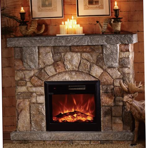 Stone Electric Fireplace for Modern Rustic Home Designs