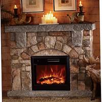 electric stone fireplace Stone Electric Fireplace for Modern Rustic Home Designs ...