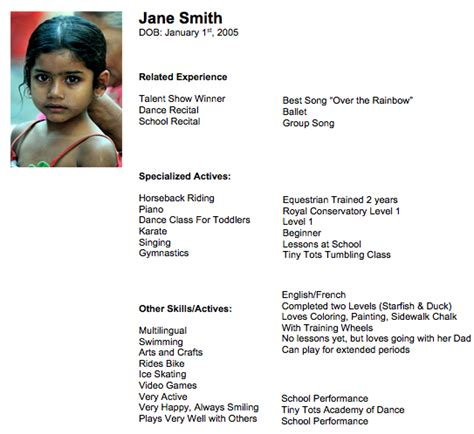 Talent Resume For Child by 9 Tips To Prepare Your Child S Acting Resume
