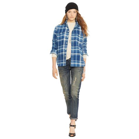 polo ralph plaid flannel workshirt in blue lyst