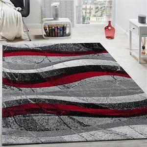 Teppich Rot Schwarz : designer teppich modern kurzflor wellen optik abstrakt ~ Pilothousefishingboats.com Haus und Dekorationen