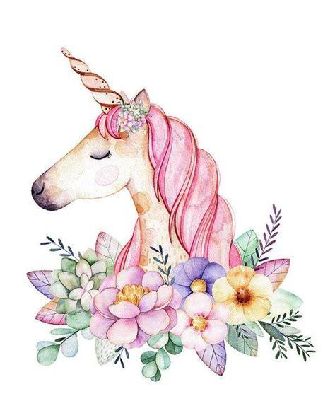 Magical Watercolor Unicorn Boho Wall Art Print Baby Girl
