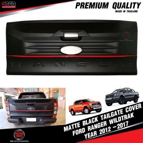 matte black rear tailgate cover facelift ford ranger mk2 t6 wildtrak 2012 2018 car accessories