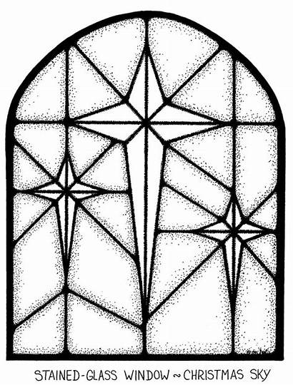 Stained Glass Coloring Window Pages Christmas Windows