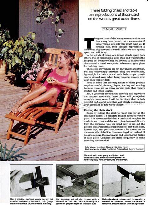 titanic deck chair plans woodarchivist