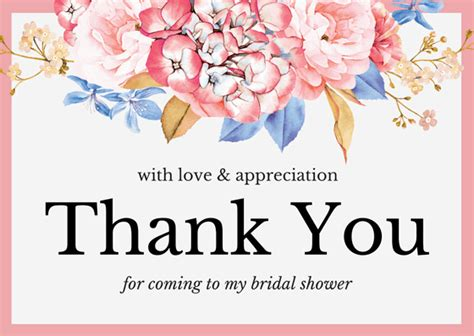 thank you for hosting card template bridal shower thank you card wording free wedding resource