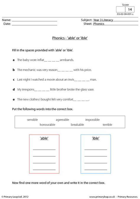 literacy phonics   ible worksheet