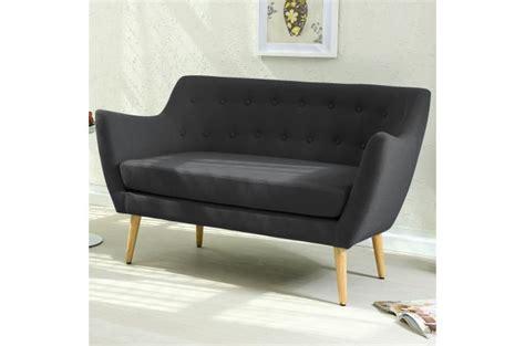 sofactory canapé canapé scandinave 2 places tissu noir lydum design sur