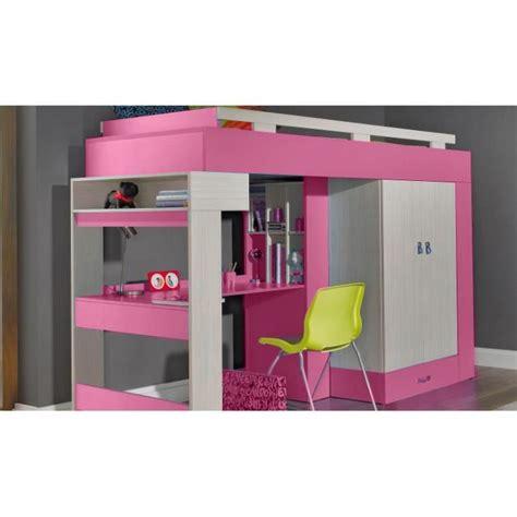 mezzanine avec bureau lit sureleve avec bureau et armoire vera achat vente