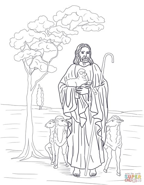Jesus Shepherd Coloring Page
