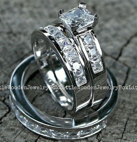sterling silver  white gold engagement