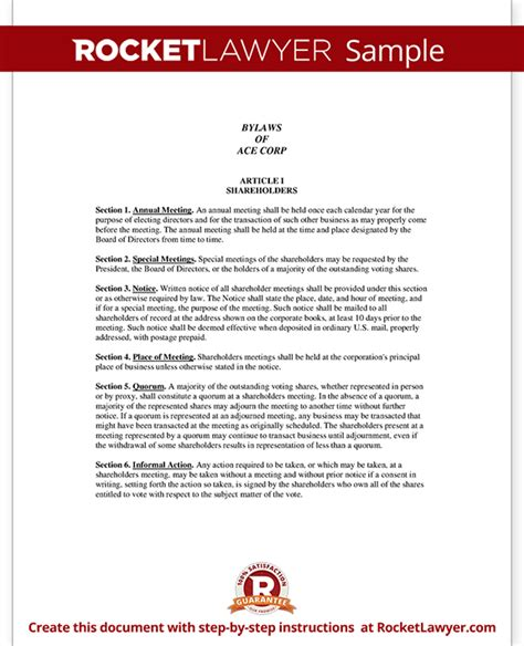 corporate bylaws template corporate bylaws template with sle