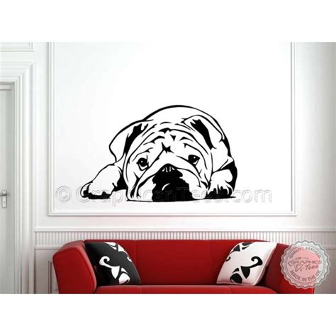 cute british bulldog puppy english bulldog wall sticker vinyl mural decal