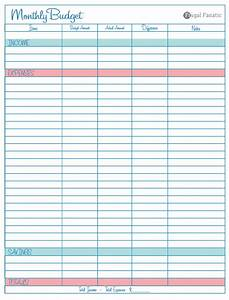 Blank Monthly Budget Worksheet
