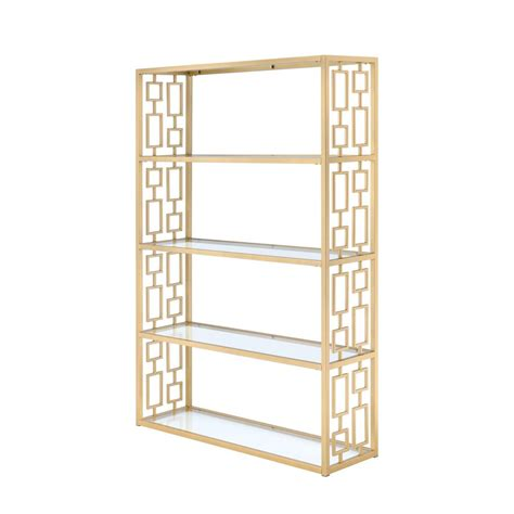 Glass Etagere Bookcase by Acme Furniture Blanrio Etagere Clear Glass And Gold