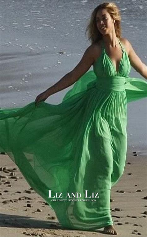 beyonce green chiffon halter  neck celebrity prom dress
