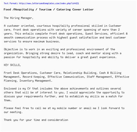 food hospitality tourism catering cover letter job application letter