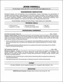 mechanical manufacturing engineer resume car design engineer sle resume