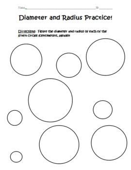 Diameter And Radius Practice  Student, Circles And The O'jays
