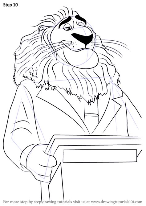 step  step   draw mayor lionheart  zootopia drawingtutorialscom