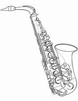 Saxophone Coloring Jazz Alto Instrument Musical Drawing Clarinet Printable Clip Saksofon Instruments Template Sheet Fm Supercoloring Paper Harlem Renaissance Printables sketch template