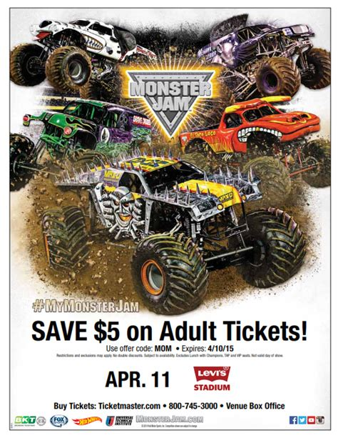 monster truck jam discount code watch out for monster jam at levi 39 s stadium my charmed mom
