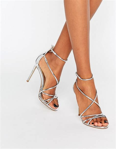 office office spindle silver mirror strappy heeled sandals