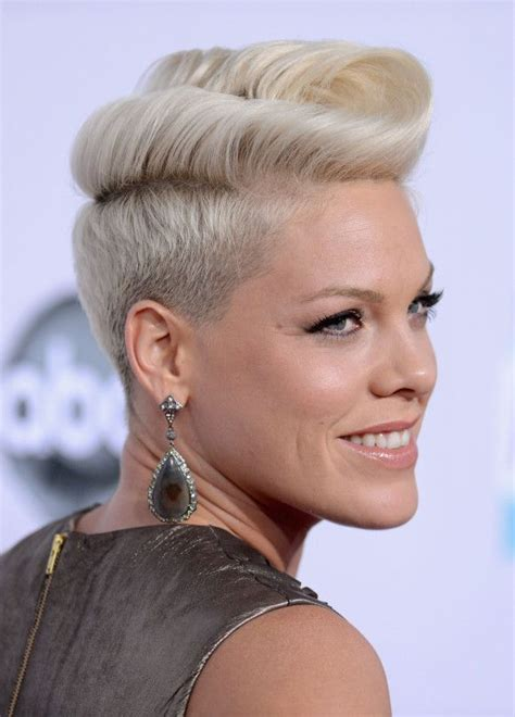 short hair curly pompadour hairstyles blonde trendy