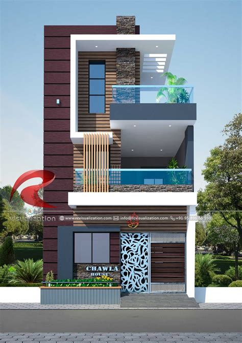 narrow house designs gallery rc visualization structural plan  elevation designin