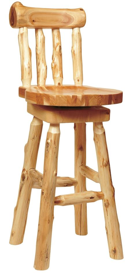 Log Stool - cedar 24 quot log counter stool with backrest from fireside