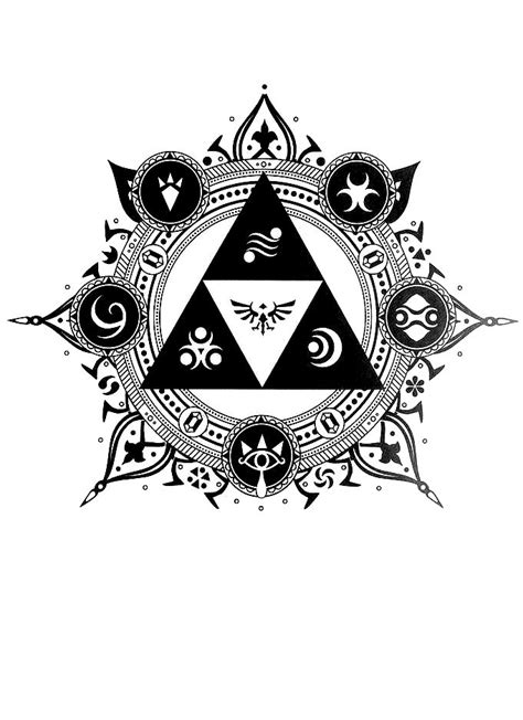 The Legend of Zelda - Black & White (Designed by Luke Alessi) | Legend of zelda tattoos, Zelda